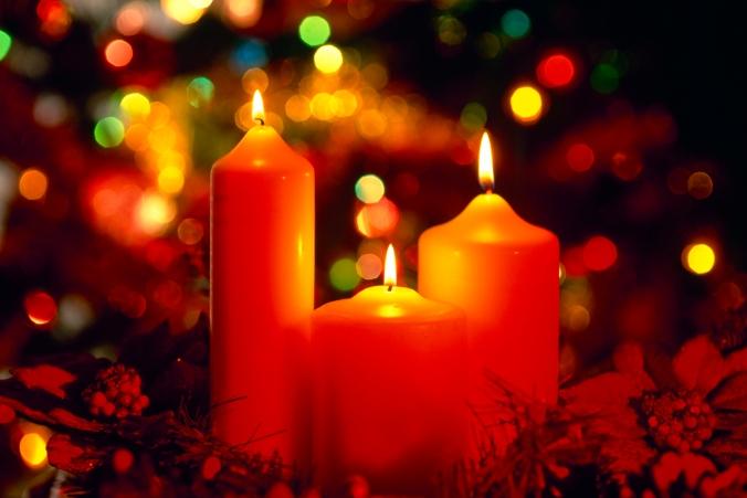 Christmas candles lit, England